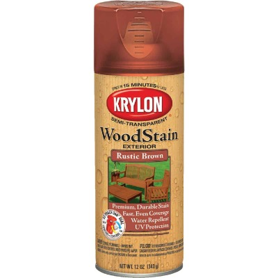 Krylon 12 Oz. Exterior Semi-Transparent Wood Stain Spray, Rustic Brown