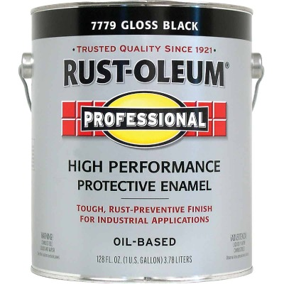Rust-Oleum Gloss VOC for SCAQMD Professional Enamel, Black, 1 Gal.