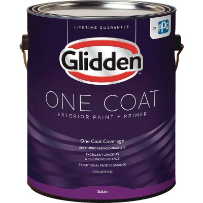 Glidden One Coat Exterior Paint + Primer Satin Midtone Base 1 Gallon