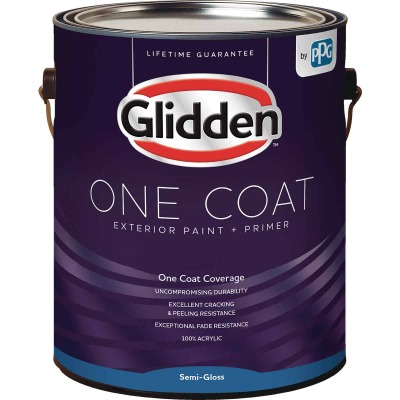 Glidden One Coat Exterior Paint + Primer Semi-Gloss Ultra Deep Base 1 Gallon