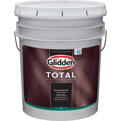 Glidden Total Exterior Paint + Primer Flat White & Pastel Base 5 Gallon