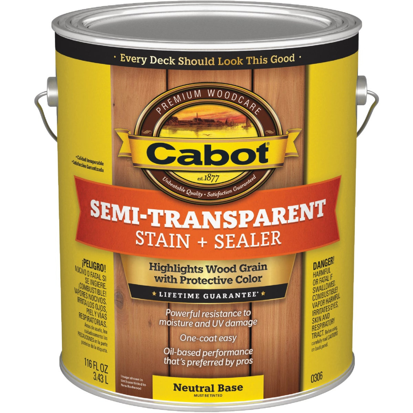 Cabot Semi-Transparent Deck & Siding Exterior Stain, Neutral Base, 1 Gal. Image 1