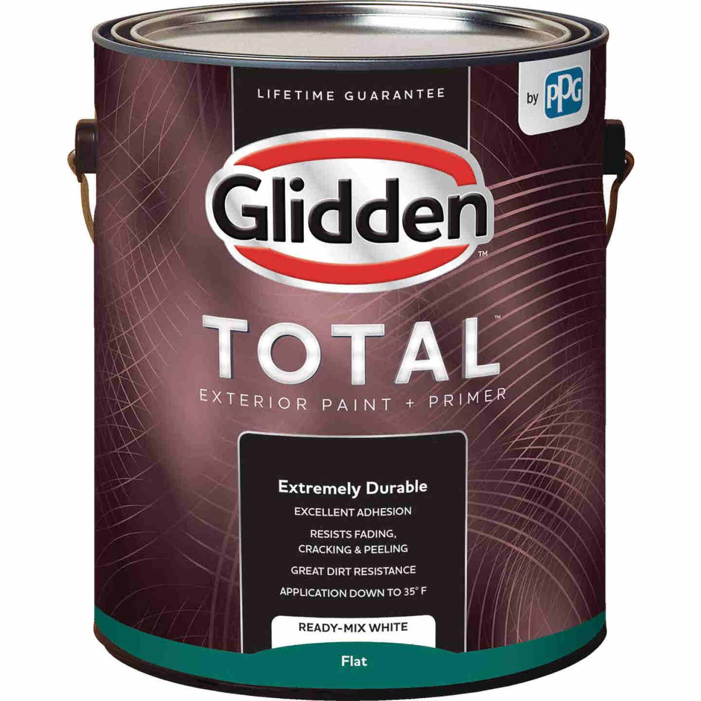 Glidden Total Exterior Paint + Primer Flat Ready Mix White 1 Gallon Image 1