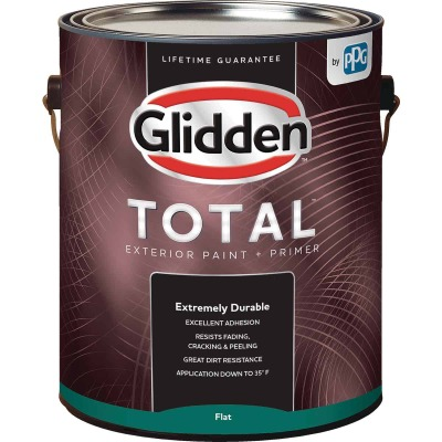 Glidden Total Exterior Paint + Primer Flat White & Pastel Base 1 Gallon