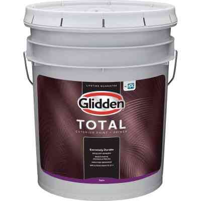 Glidden Total Exterior Paint + Primer Satin White & Pastel Base 5 Gallon