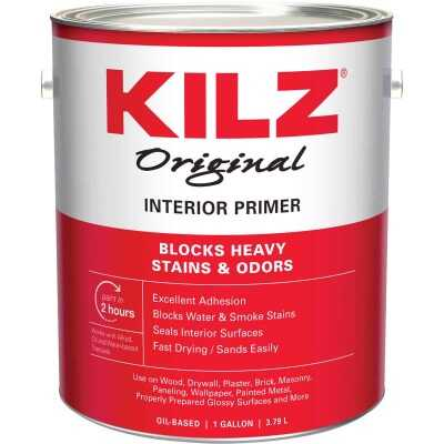 Kilz Original Oil-Based Low VOC Interior Primer Sealer Stainblocker, White, 1 Gal.