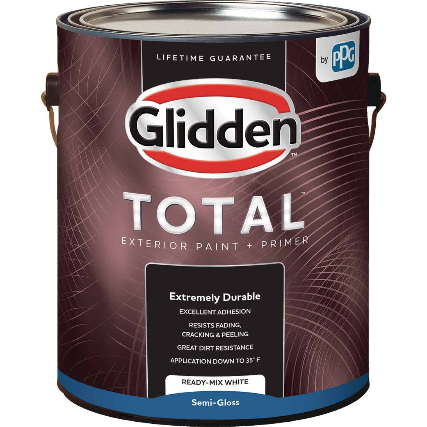 Glidden Total Exterior Paint + Primer Semi-Gloss Ready Mix White 1 Gallon Image 1