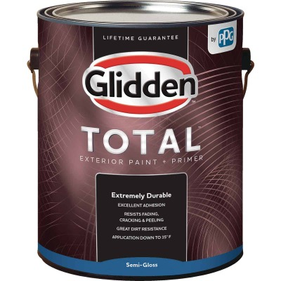 Glidden Total Exterior Paint + Primer Semi-Gloss White & Pastel Base 1 Gallon