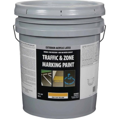 Traffic And Zone Yellow Latex 5 Gal Traffic Paint