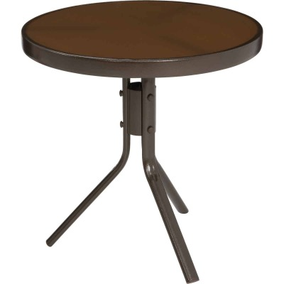 Jack Post Country Garden Taupe 19.75 In. Dia. Round Steel Side Table
