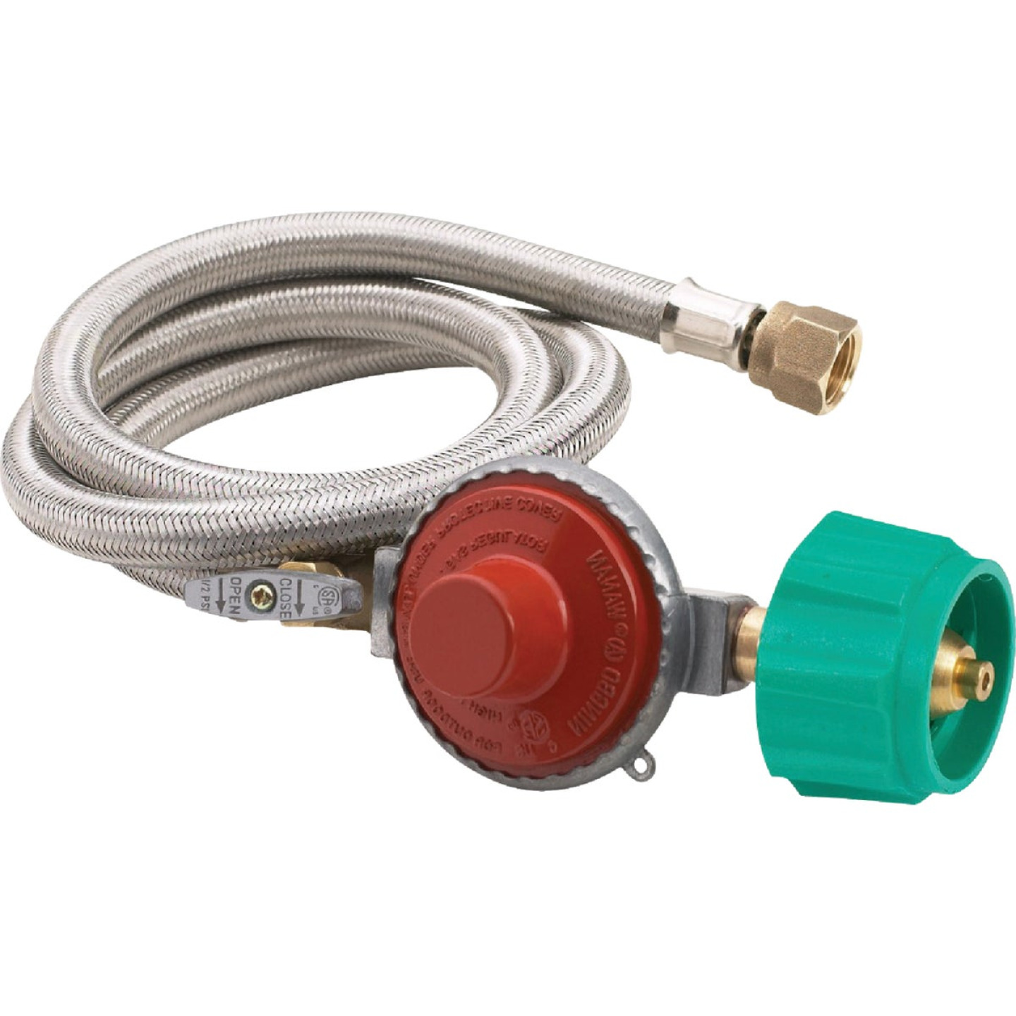 Bayou Classic 48 In. Stainless Steel High Pressure LP Hose & Preset Regulator Image 1