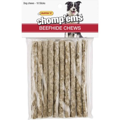 Westminster Pet Ruffin' it Chomp'ems Beef Stick Beefhide Chew, (10-Pack)