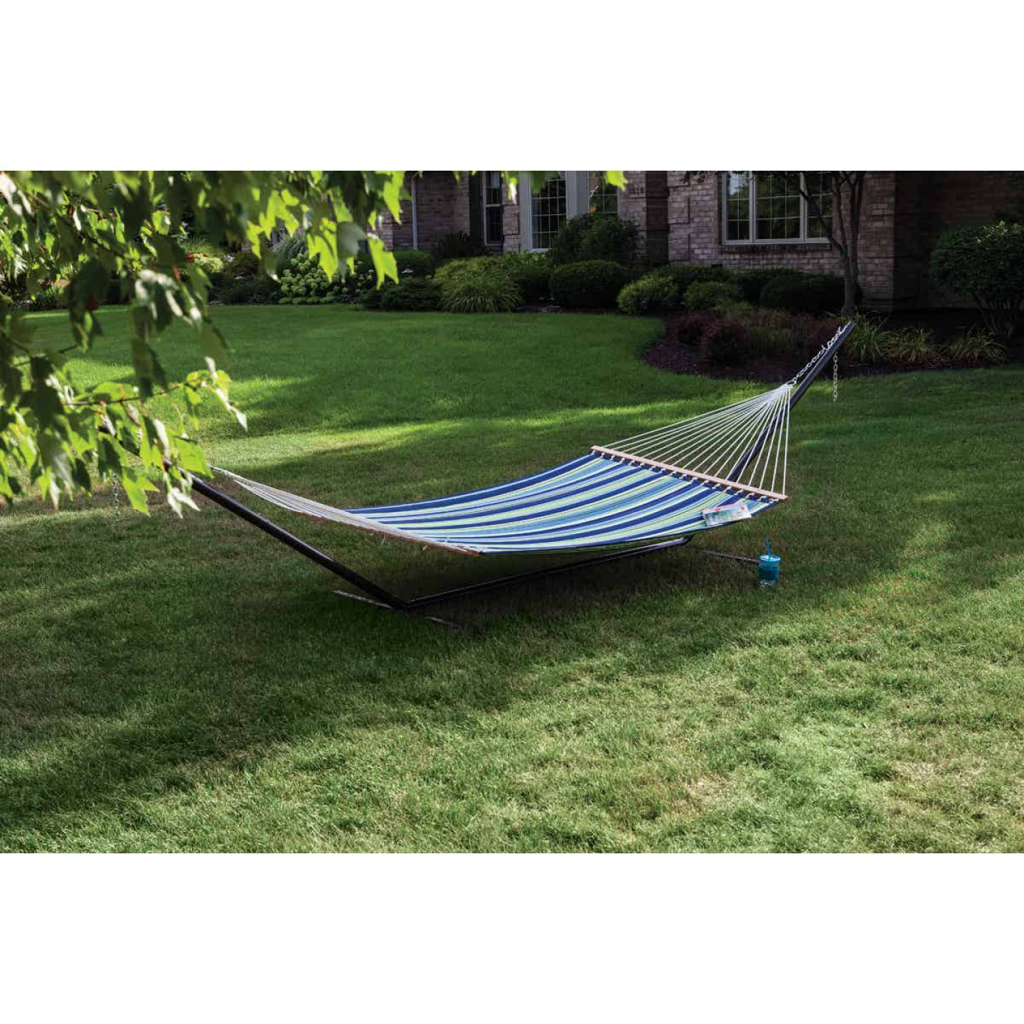 Castaway Duracord Blue & Green Striped Quilted Hammock Image 3