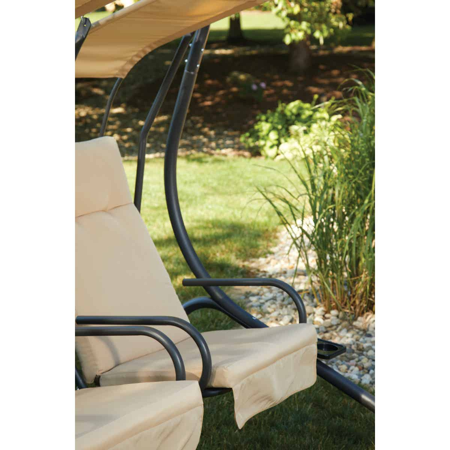 Outdoor Expressions 2-Person 67 In. W. x 67 In. H. x 53.5 In. D. Tan Patio Swing Image 4