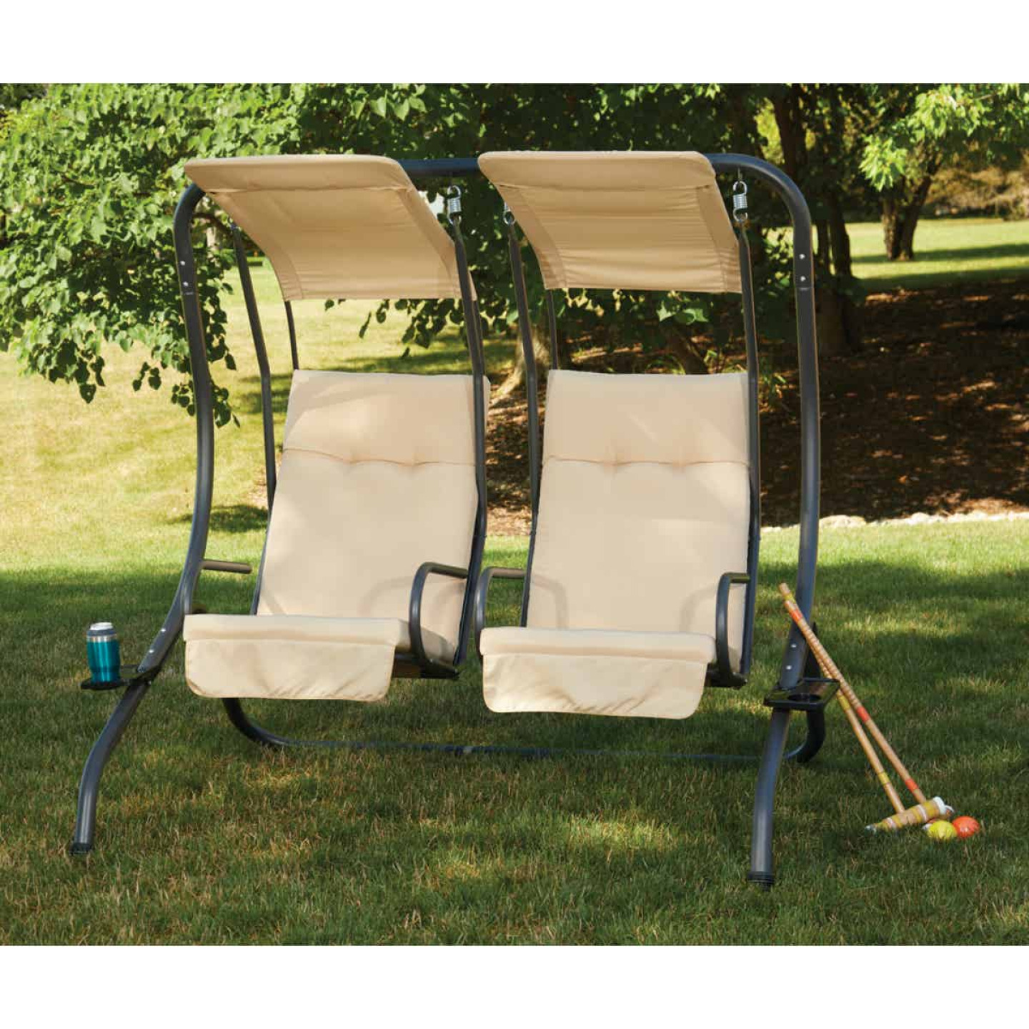 Outdoor Expressions 2-Person 67 In. W. x 67 In. H. x 53.5 In. D. Tan Patio Swing Image 7