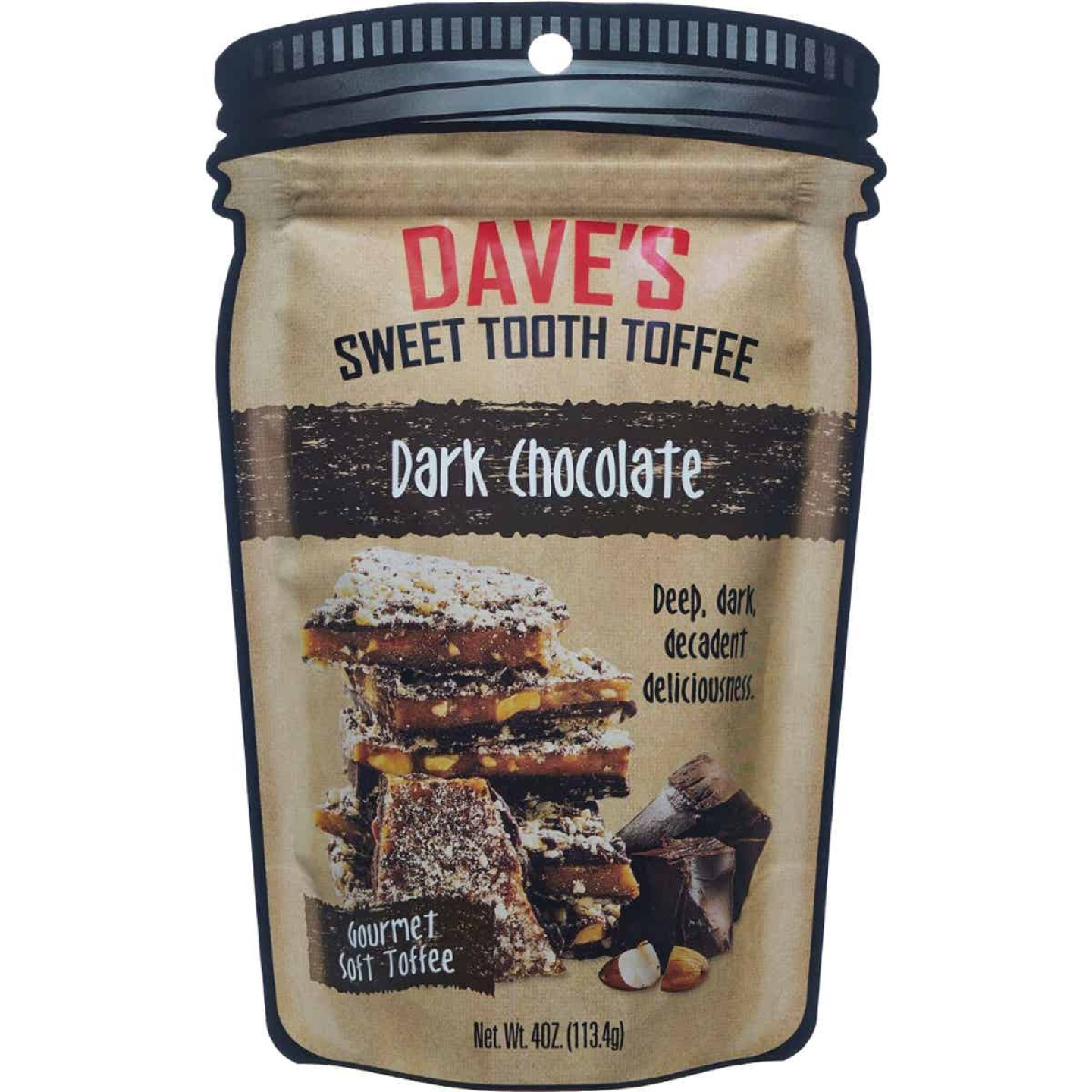 Dave's Sweet Tooth 4 Oz. Dark Chocolate Gourmet Soft Toffee Image 1